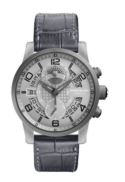 This replica Montblanc watch is full of sense of technology, with the sliver matte case matching the grey leather strap, presenting us an eye-catching visual contrast.