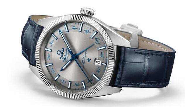 Classical Pai dial is used for the indicating 12 months, with the decoration of the blue pointers and moon display upon the dial, this white scale replica Omega watch provides the best readability.