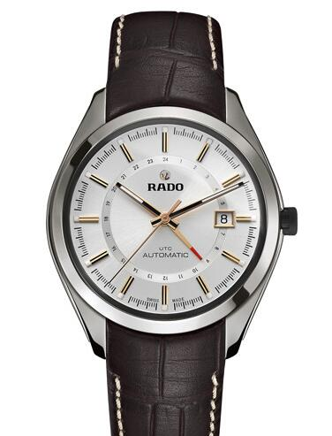 For this fake Rado watch which just represents the an ambitious response to complicated function of Rado, that features the three central hands, date display and second time zone display upon the dial, directly presenting the complexity.
