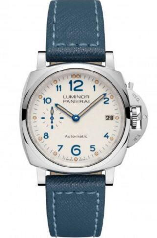 Upon the white round dial that decorated with white spot scale, large blue numbers, pointers and some other classical features, this steel case replica Panerai watch presents us a unique light, matching the polished AISI 316L stainless steel case, showing an eye-catching appearance.