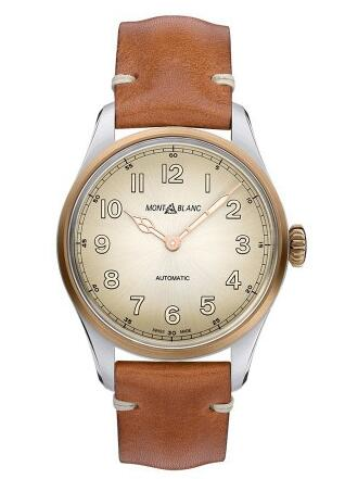 With bronze material and brown strap, this replica Montblanc watch completely shows the vintage design style.