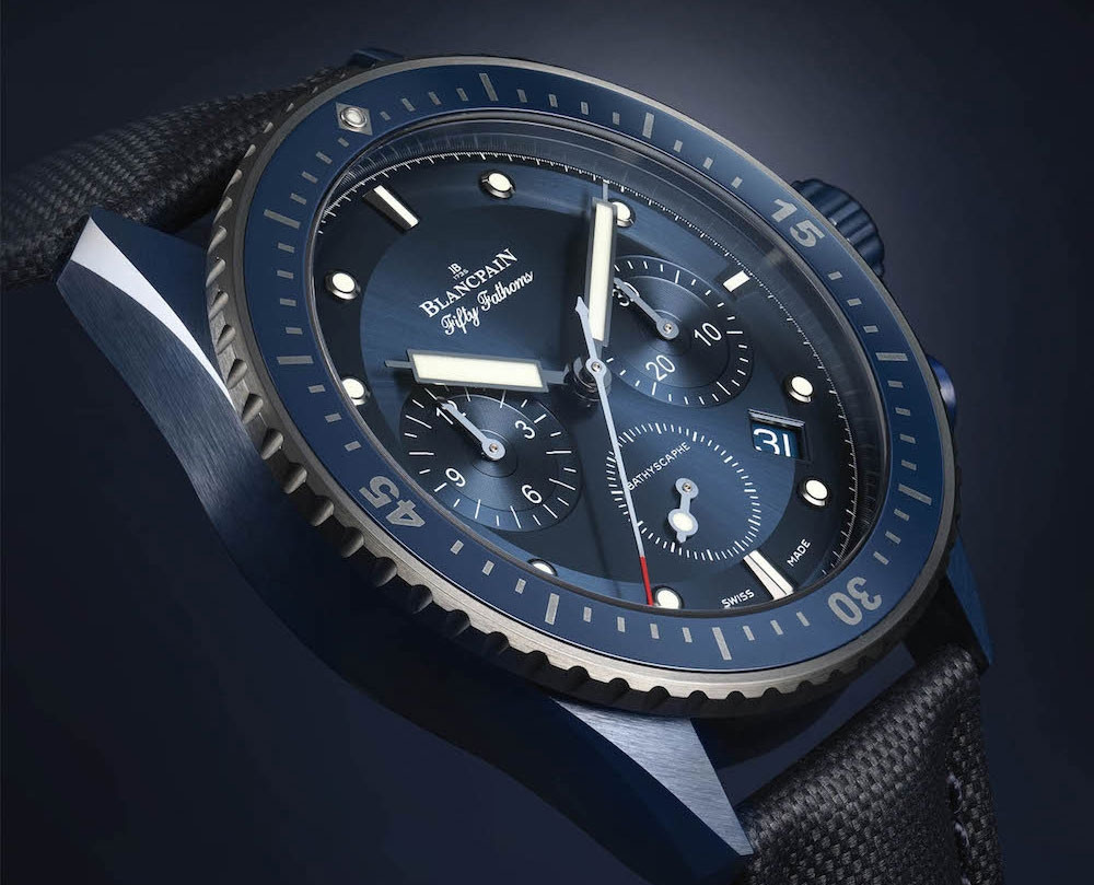 Copy Blancpain watches with blue dials are charming.