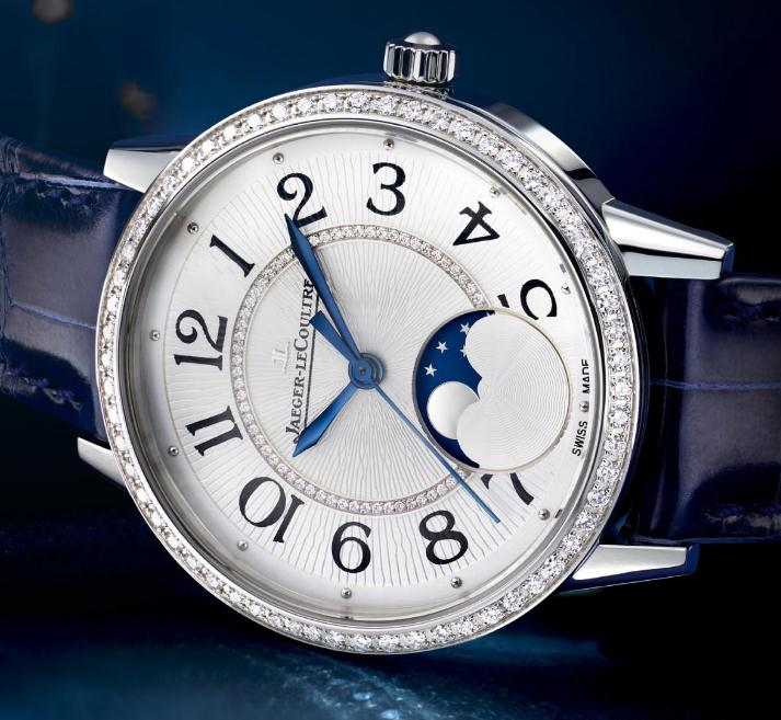 The blue hands are very elegant and mysterious on the silver dial adorned with guilloche pattern.