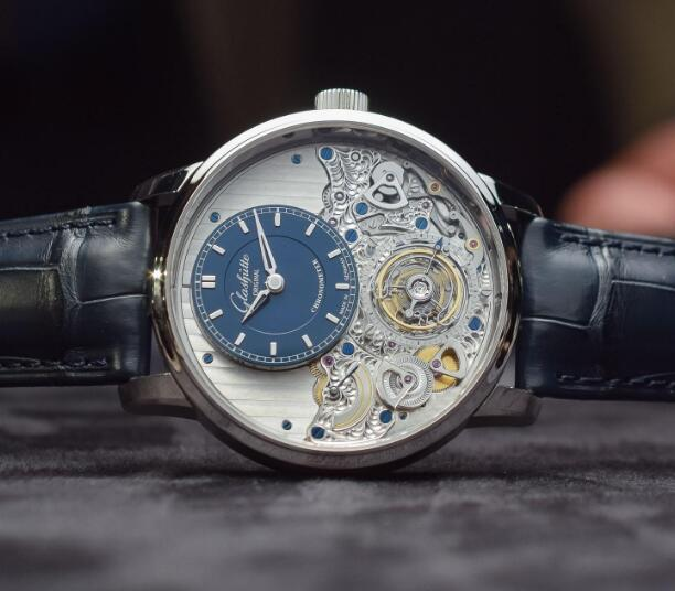 The timepiece presents the complication and art.