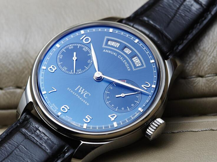 With the blue dial and blue leather strap, the IWC is best choice for formal occasion.