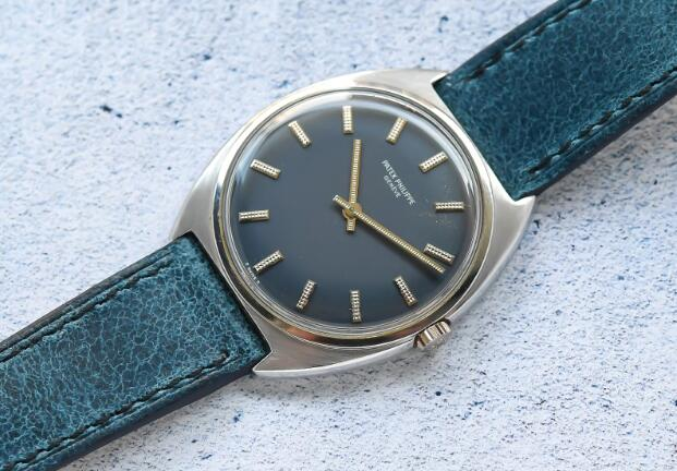 With the blue dial and blue leather strap, the Patek Philippe is rare and fascinating.