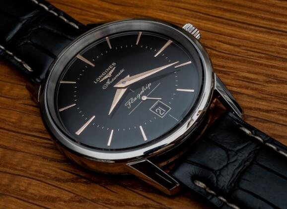 The black Longines is easy to match any clothes.