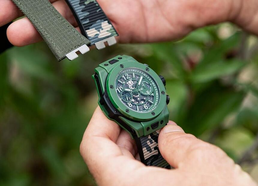 AAA fake watches keep novel with green ceramic material.